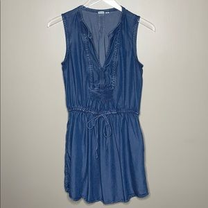 Gap Chambray Tie Waist Mini Dress XS